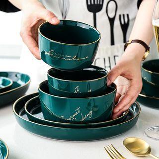 Kawa Simaya - Ceramic Golden Trim Lettering Bowl / Plate / Drinking Cup