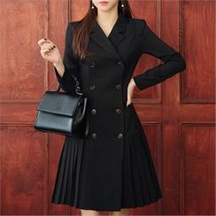 CHICLINE - Double-Breasted Pleated Coatdress