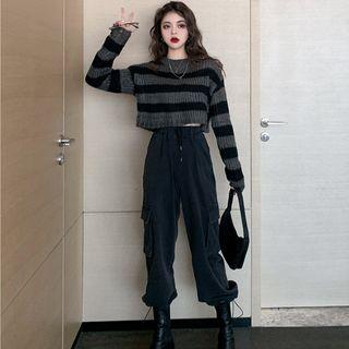 Duwnie - Striped Cropped Sweater / Cropped Harem Pants