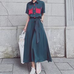 EFO - Short Sleeve Color Block Chiffon Shirtdress