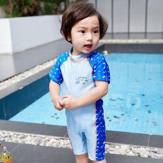 Aqua Wave - Kids Printed Short-Sleeve Rashguard  / Swim Goggles / Ear Plugs / Nose Clip / Drawstring Organizer Bag / Set
