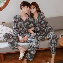 Endormi - 情侣款家居服套装: 花朵印花衬衫 + 裤子