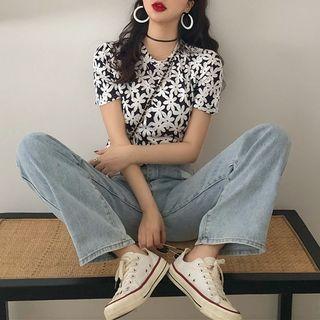 LINSI - Floral Short-Sleeve Crop Top / High-Waist Wide-Leg Jeans