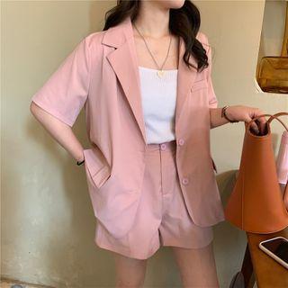 Fabricino - Set: Elbow-Sleeve Single Breasted Blazer + Dress Shorts