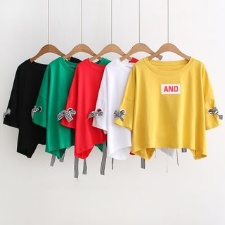 Aigan - Bow-Accent Cropped T-Shirt