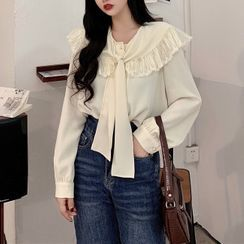 Fabricino - Lace Panel Tie-Strap Blouse