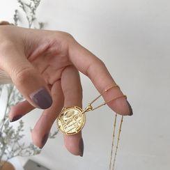 Krishya - 暗紋吊墜純銀戒指