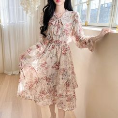 MyFiona - Tie-Neck Ruffled Floral Maxi Chiffon Dress