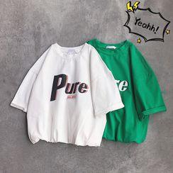 YERGO - Lettering Short-Sleeve T-Shirt