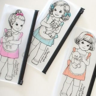 iswas - 'Paper Doll Mate' Series Clear Flat Pouch