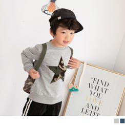OrangeBear - 韩风刷毛立体迷彩星星罗纹圆领长袖上衣