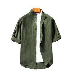 Sheck - 七分袖纯色衬衫