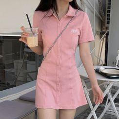 Janoosh - 短袖標誌A字馬球連衣裙