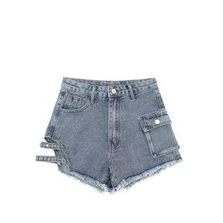 JIN STUDIOS - Cut-Out Denim Hot Pants