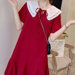 Gypso - Maternity Short-Sleeve Doll-Collar Midi Dress