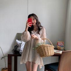 MERONGSHOP - V-Neck Patterned Mini Tunic Dress