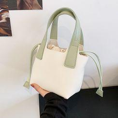 BAGUS - Faux Leather Drawstring Bucket Bag