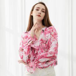 Pandaramma - Puff-Sleeve Ruffled-Trim Floral Print V-Neck Blouse