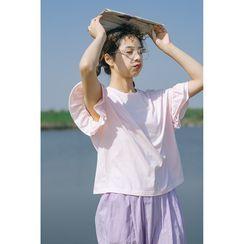 Echo Forest - Short-Sleeve Ruffled T-Shirt