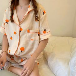Tanee - Pajama Set: Printed Short-Sleeve Top + Shorts