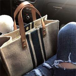 Minafox - Striped Canvas Tote Bag