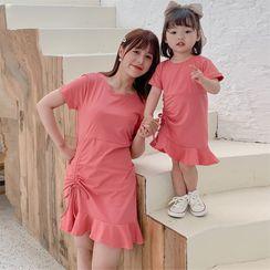Cuckoo - 父母和小童短袖A字连衣裙