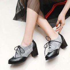 幸福鞋坊 - 格子拼接布洛克粗跟繫帶鞋