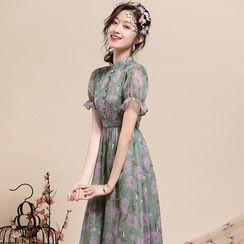 Ozipan - Mandarin Collar Floral Midi A-Line Dress