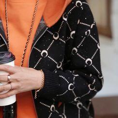 Lemite - Patterned Knitted Zip Hoodie