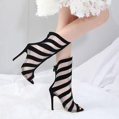 Niuna - 露趾網紗拼接高跟羅馬涼鞋