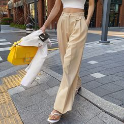 LIPHOP - Flap Pleated Wide-Leg Pants