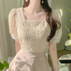 MyFiona - Square-Neck Lace-Trim Top
