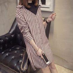 Ashlee - Mock Two-Piece Long-Sleeve Striped Dress