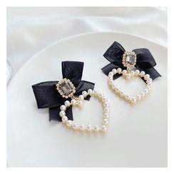 Mimishi - Heart Faux Pearl Ribbon Dangle Earring
