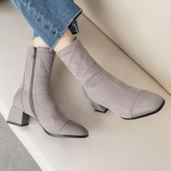 Aegina - Cap-Toe Chunky-Heel Short Boots