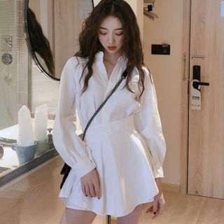 Sadelle - Set: Long-Sleeve A-Line Mini Shirt Dress + Shorts
