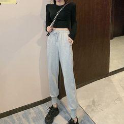 Bebop Bae - Long-Sleeve Plain T-Shirt / Drawstring Sweatpants
