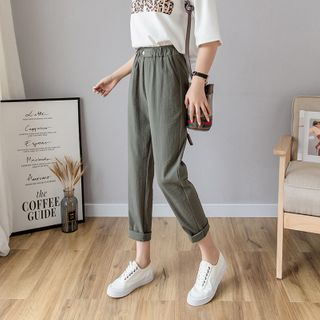 Emeraude - Elastic Waist Tapered Pants