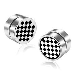 Prushia(プルシア) - Stainless Steel Plaid Magnetic Earring