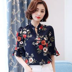 In the Mood - Floral Print Bell Elbow-Sleeve Mandarin Collar Blouse