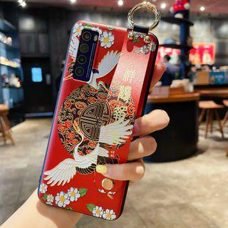 Pixel Dream - Crane Print Hand Strap Phone Case - Samsung