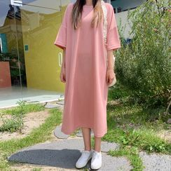 HOTPING - Drop-Shoulder Long T-Shirt Dress