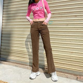 Trisica - Corduroy Straight-Fit Pants / Mock Two-Piece Long-Sleeve Argyle Print Cropped T-Shirt