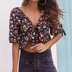 Miss Kani - Elbow-Sleeve Floral Print Crop Top
