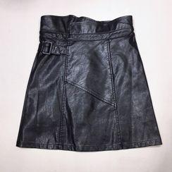Natta - Faux Leather Mini A-Line Skirt