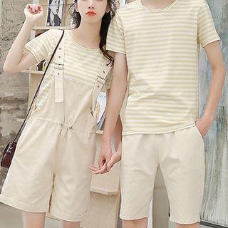 Deedlit - Couple Matching Striped Short-Sleeve T-Shirt / Drawstring Jumper Shorts / Plain Shorts