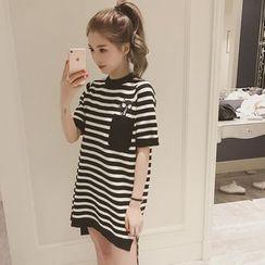 Frigga - Short-Sleeve Striped Dip-Back Dress