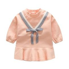 MOM Kiss - 婴儿蝴蝶结山形纹长袖针织上衣