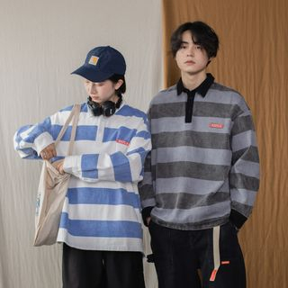 COOLAGE - Couple Matching Striped Long-Sleeve Polo Shirt