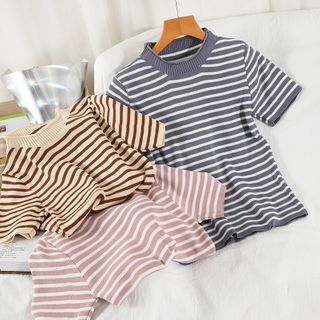 Miss Puff - Short-Sleeve Striped Knit Top